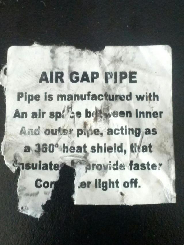 Tuyau d'échappement à double parois, Air Gap Pipe Img_2012