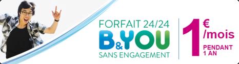Un forfait B&You 24/24 à 1 € en exclu pour les clients Bouygues Telecom 14337610