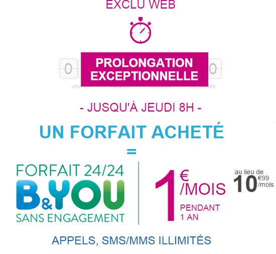 Prolongation jusqu'au 9 Juillet 8h de l'offre B&You 24/24 à 1 € Promob10