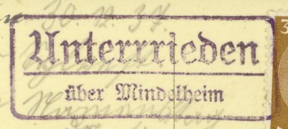 Deutschland  -  Landpoststempel (Poststellenstempel) Unterr11