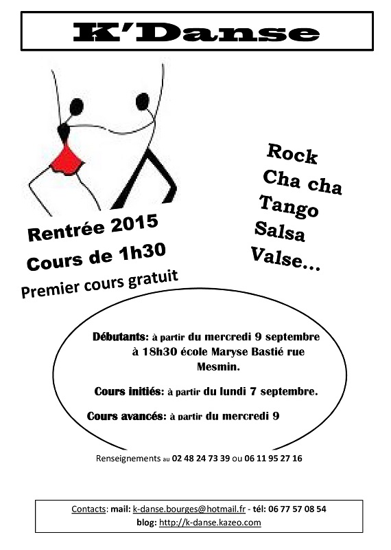 """2015/2016 - MER 09 septembre - BOURGES - Reprise des cours de danse """"K'Danse"""" 09-0710"""