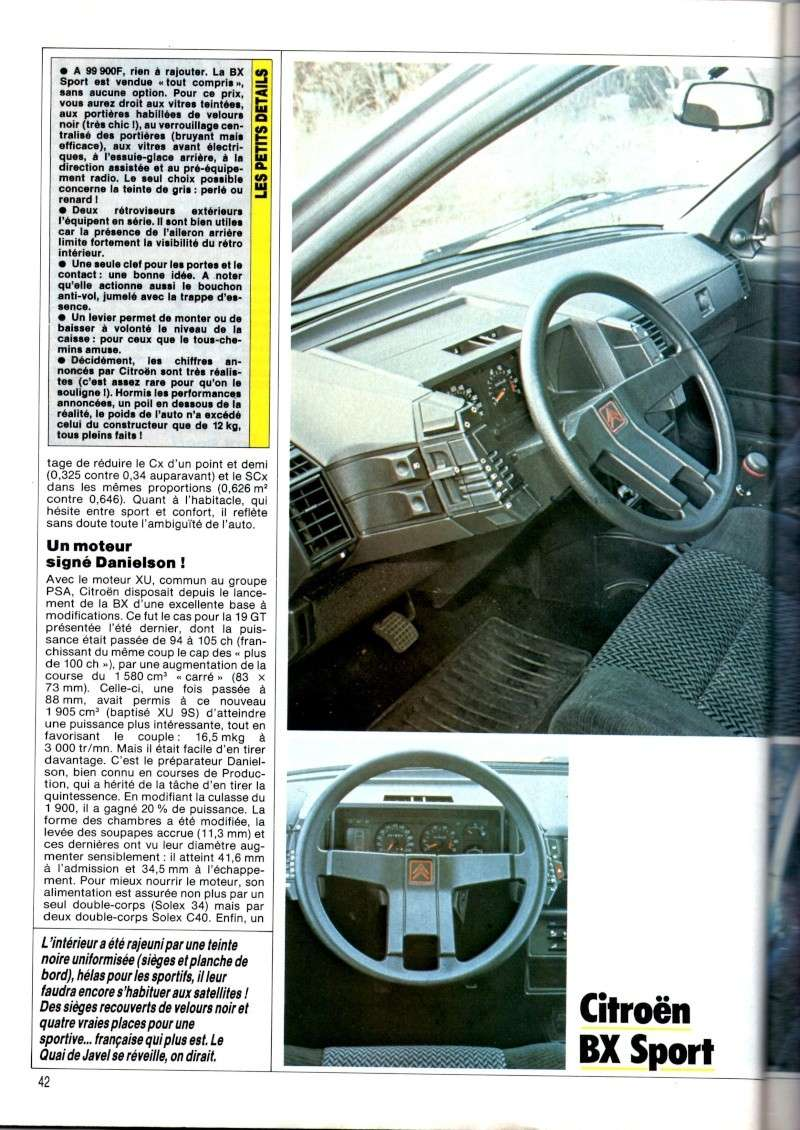 Essai de la BX Sport de AUTO HEBDO(n°464 du 28/03/1985) Img00518