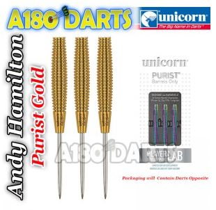 ANDY HAMILTON Unicorn Gold Purist 97% Tungsten Darts barrels only 25g A180_333
