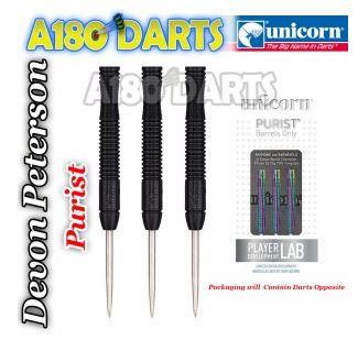 Unicorn Purist Black 90% Tungsten Darts 22g - DEVON PETERSEN A180_352