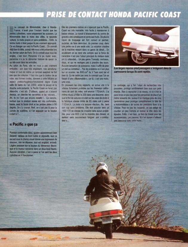 Pacific Coast, la motomobile a du coffre (Moto journal) 511