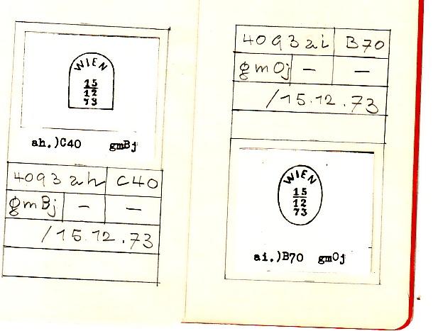 Faksimile Auflistung österr. (wiener) Poststempel  1851 - 1883 10343_10