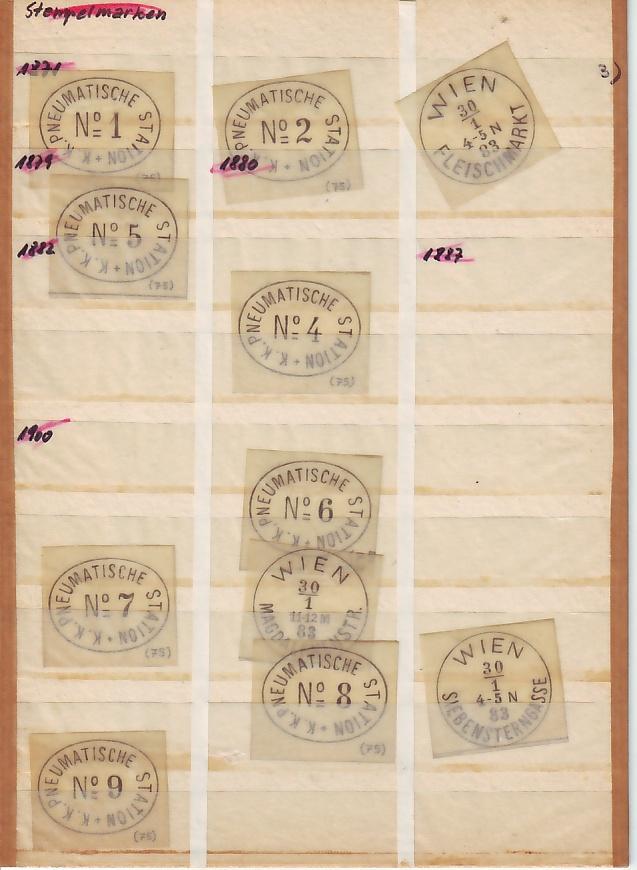 Faksimile Auflistung österr. (wiener) Poststempel  1851 - 1883 10345_10