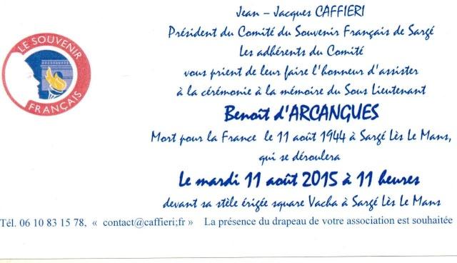 11 Août 2015 - Cérémonie à la mémoire du Sous Lt B. d ' Arcanques . Invi_d11