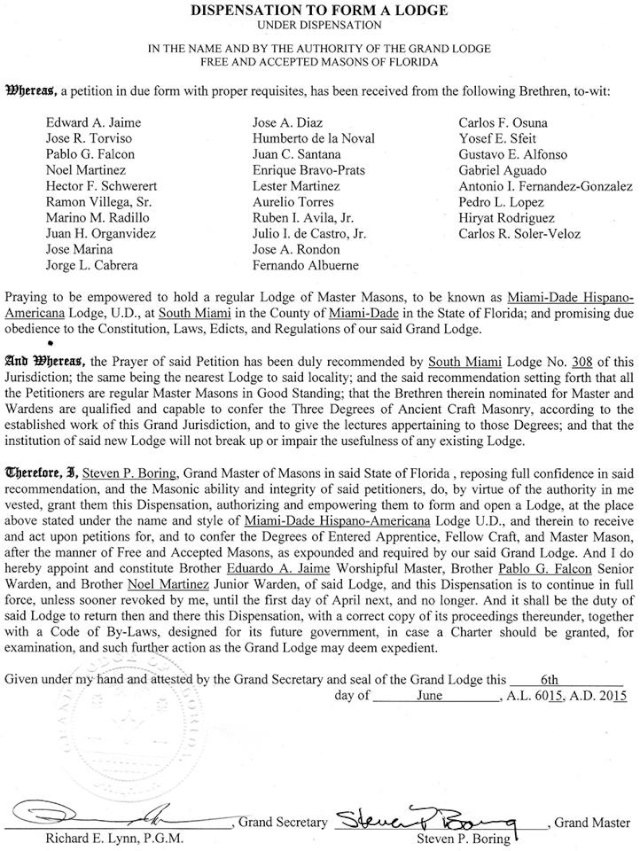 Logia  Hispano Americana Miami Dade U.D. 11425811