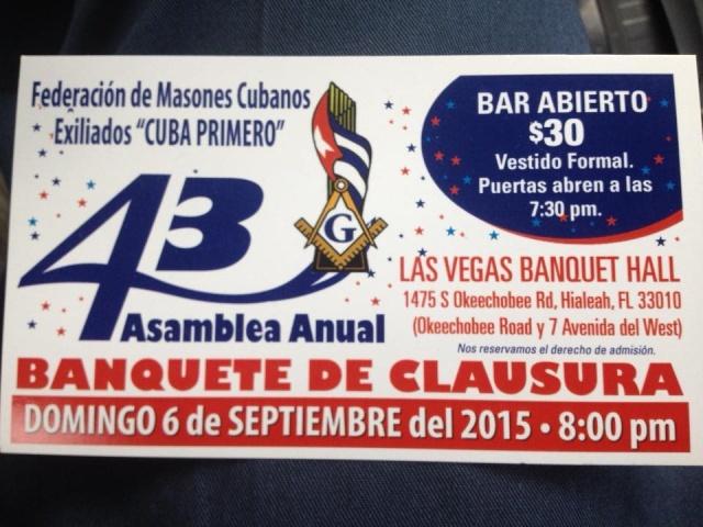 43 Asamblea Anual Banquete de Clausura de la Federación de Masones Cubanos Exiliados Cuba Primero Federa10