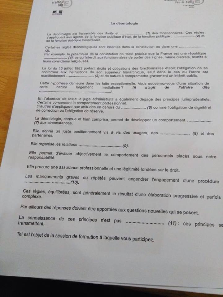 ESPE en Nord-Pas-de-Calais : un texte à trous sur la déontologie. Test_d10