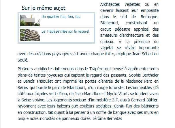 Articles de presse / de sites Internet sur la ZAC Seguin - Rives de Seine Clipbo82