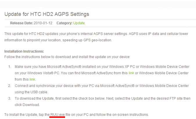 [ASIE uniquement] Update for HTC HD2 AGPS Settings pour l'Asie Maj110