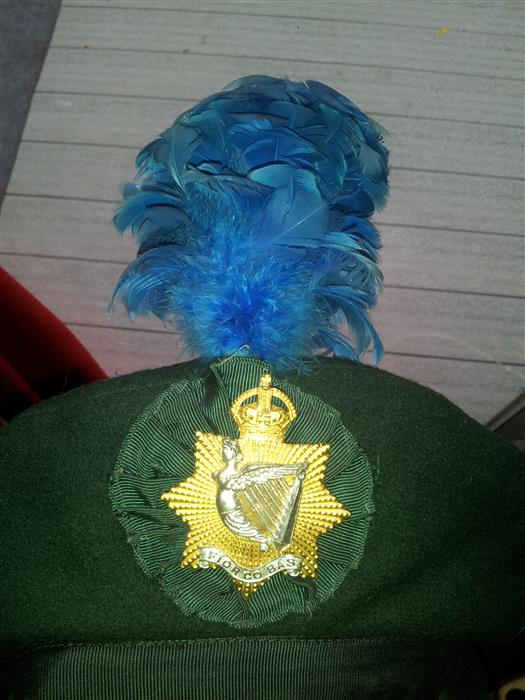 Irish Regiment of Canada Formal Dress jacket, Trews, and Officers cap badge.  Office10