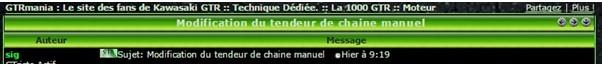 Modification du tendeur de chaine manuel Gtr0410