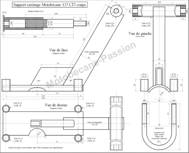 Plan de supports de carénage pour Coupe 125 Motobecane Suppor10