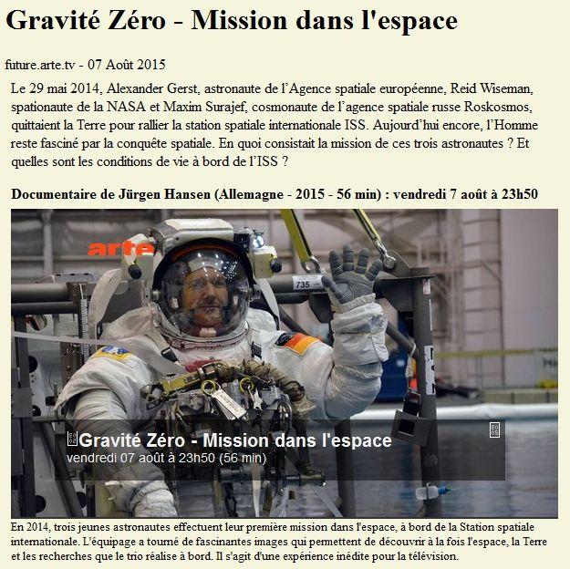 Gravité Zéro - Mission dans l'espace - 7 Août 2015 - ARTE 15080710
