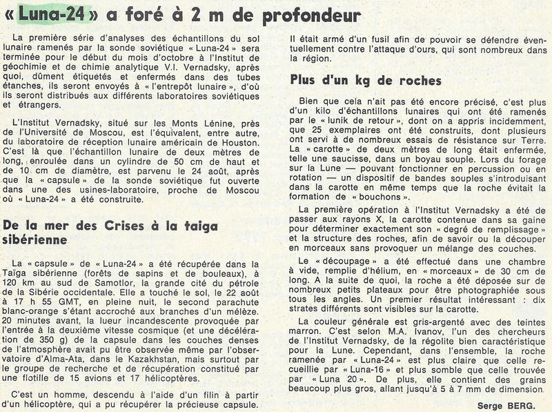 9 août 1976 - Luna 24 - Dernier retour échantillons lunaires 76091110