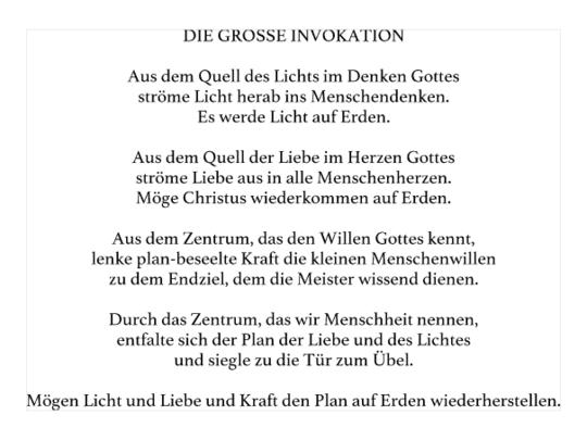 L A  GRANDE  INVOCATION German10