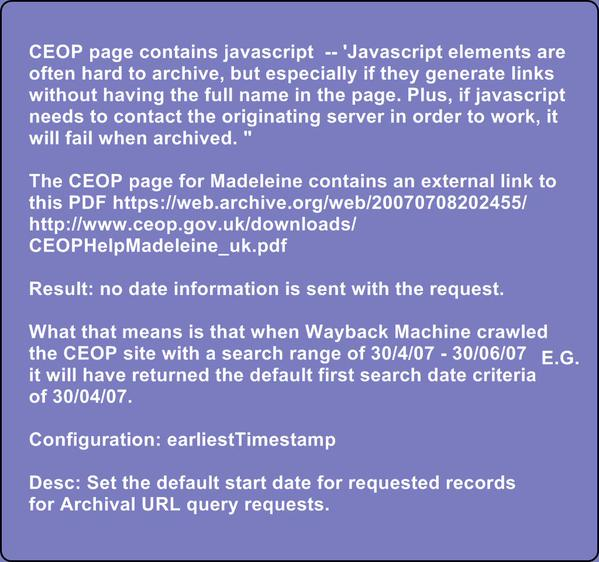 "Claim by 'Stevo' - ""CEOP show Maddie is missing on 30th April 2007"" Tttceo10"