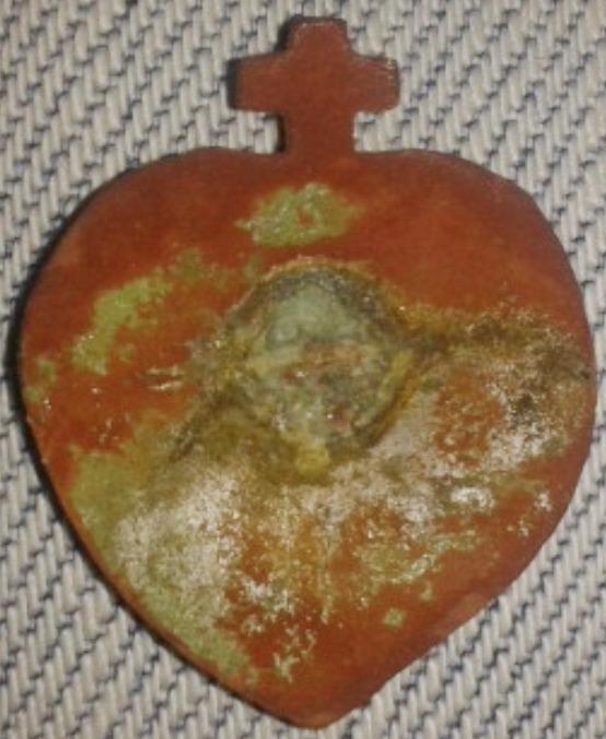 Jolie médaille (ou broche?) émaillée - Sacré Coeur de Jésus - XIXème 20150711