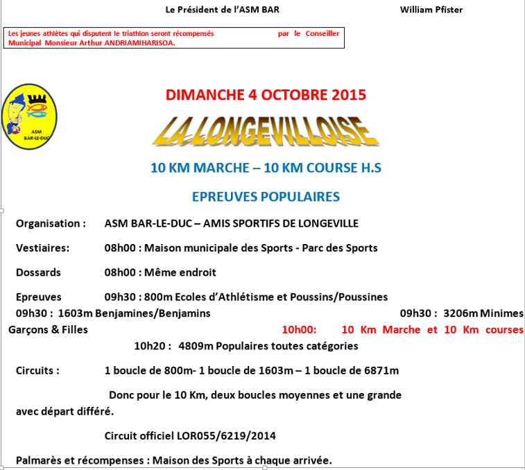 La Longevilloise: 10km; Longeville (55): 04/10/2015 Longev11