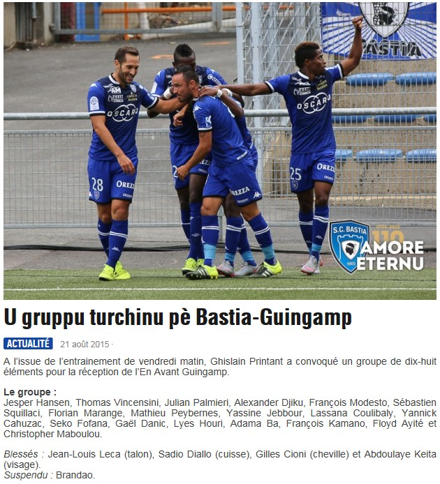 J3 / Jeu des pronos - Prono Bastia-Guingamp S63