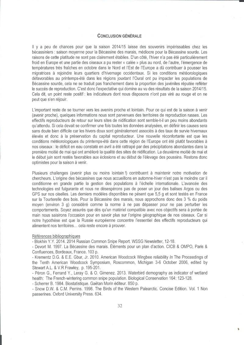 Réseau Bécassines, Bilan 2014/2015 Rappor58