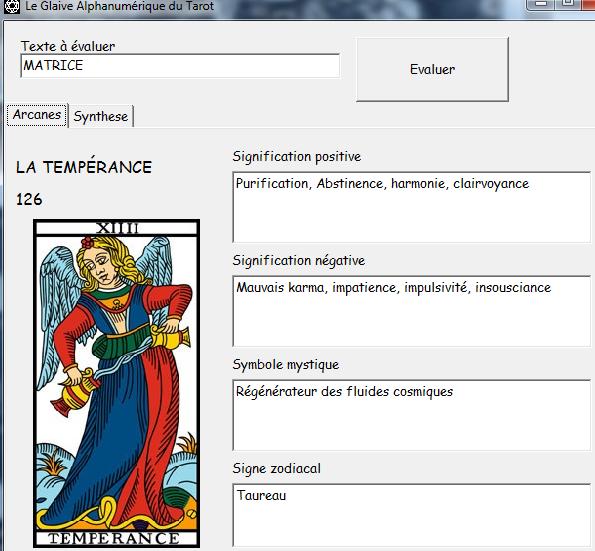 Le Glaive Alphanumérique du Tarot Matric10