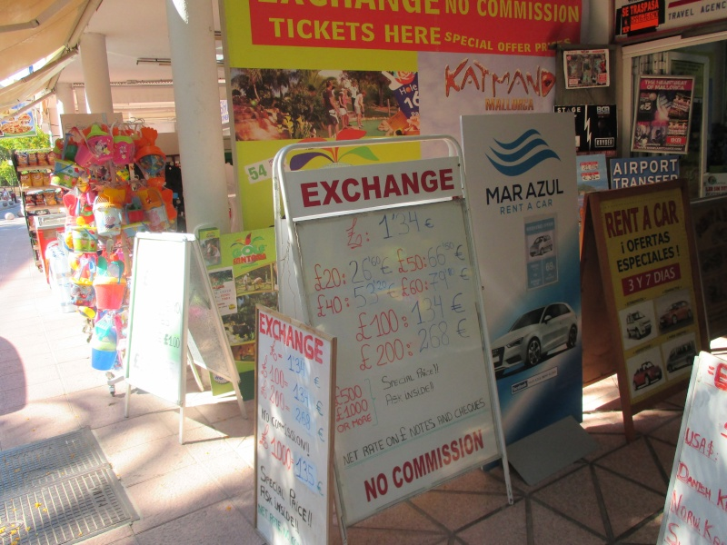 Exchange rates & Taxi Prices in Palma Nova June 2015 03410