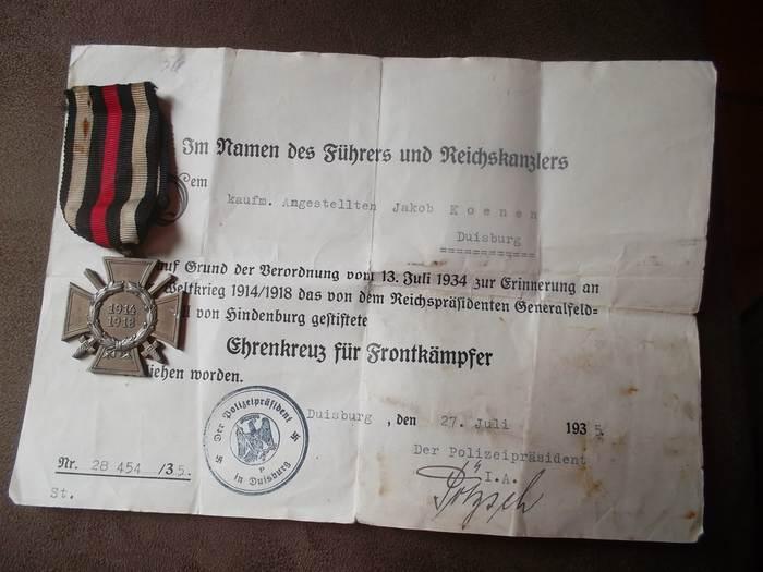 medaille allemande et son diplome 14 18 Image014