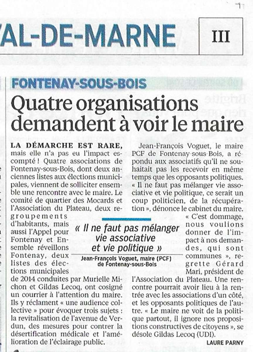 4 associations demandent collectivement une audience au Maire Articl10