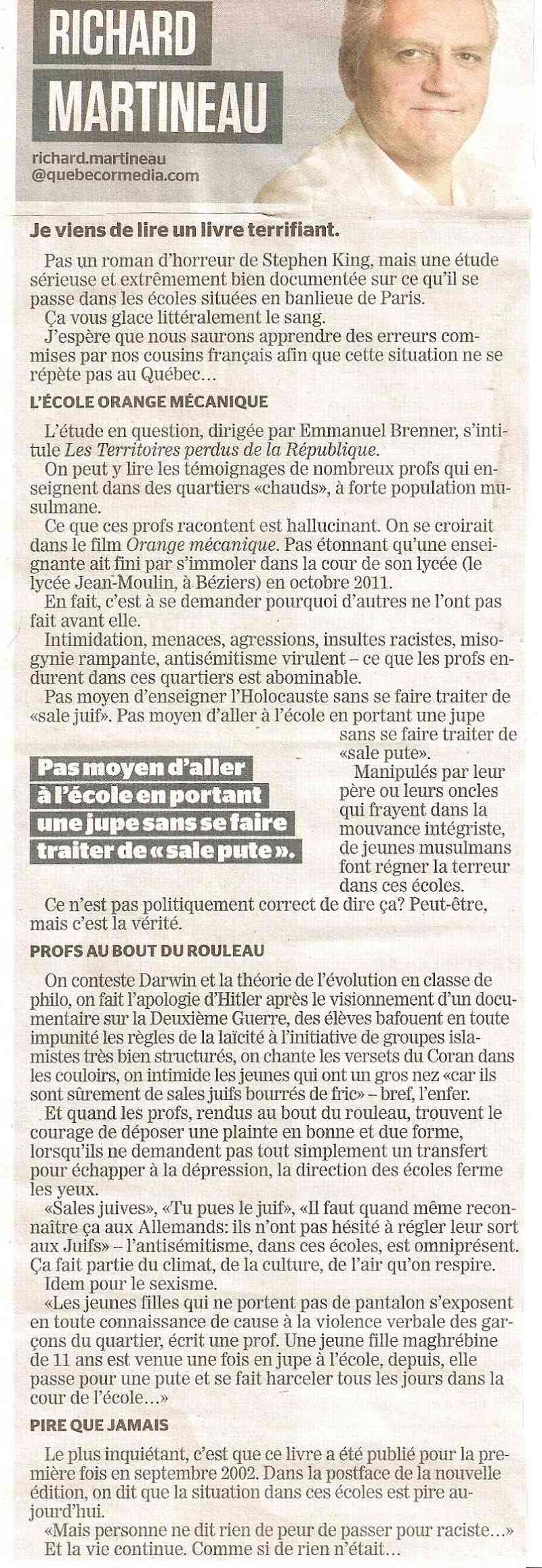 Article du journal de langue francaise de Montreal ( Canada ) Numyri11