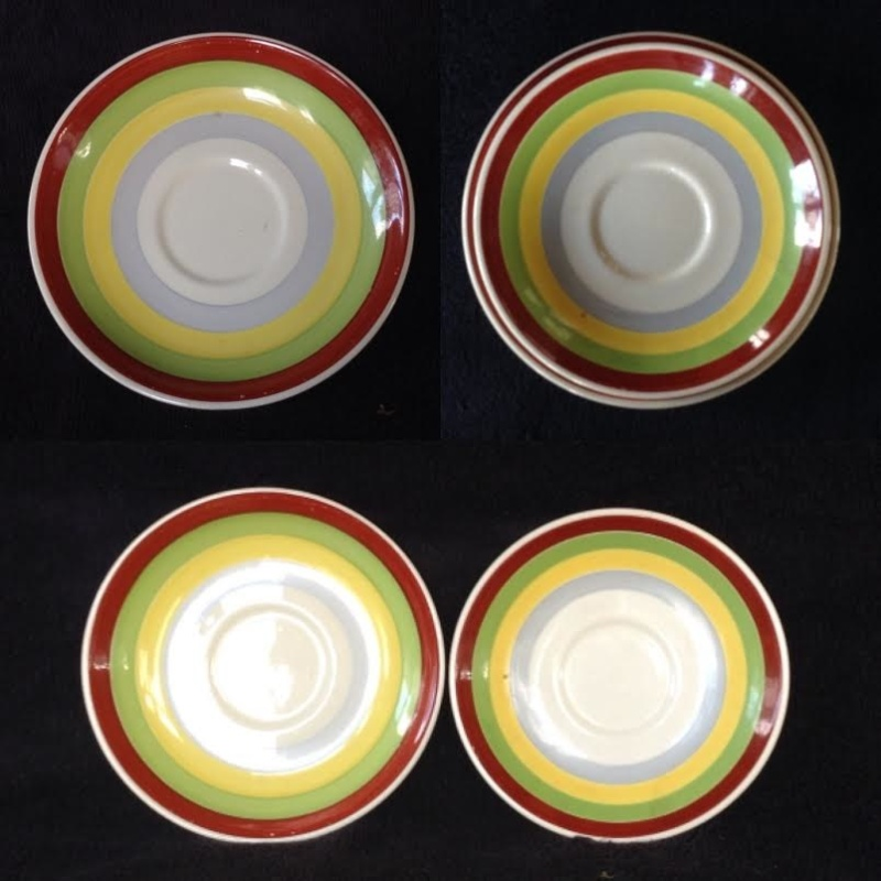For gallery: 802 Breakfast Cup, correct 744 large saucer, different Fiesta Gaye backstamp, 4610 vit jumbo saucer 74480510