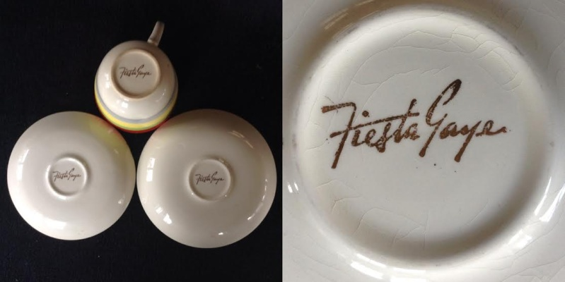 For gallery: 802 Breakfast Cup, correct 744 large saucer, different Fiesta Gaye backstamp, 4610 vit jumbo saucer Fiesta10