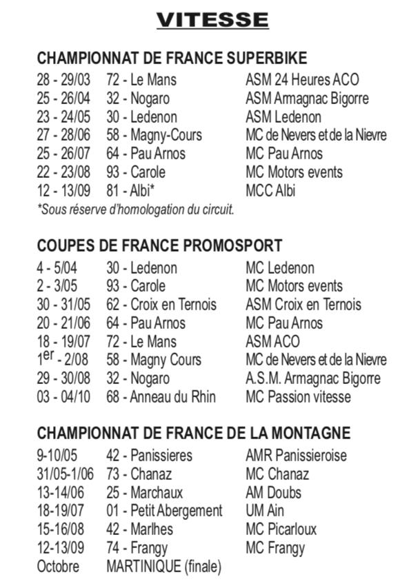 Calendrier Course Moto en France Captur51
