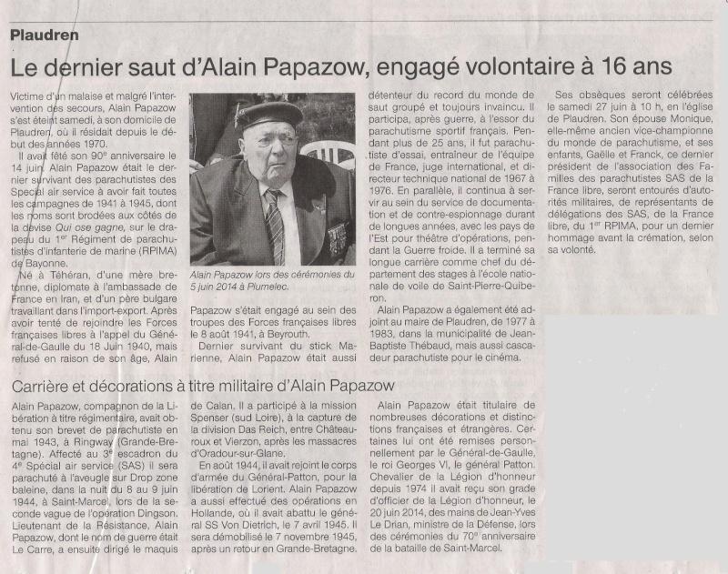 Décès du dernier survivant du 4e SAS : Alain Papazow, dit le Corre Plaudr11