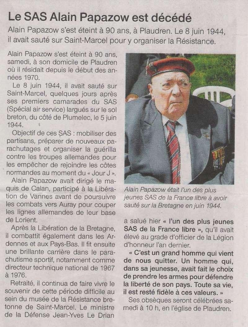Décès du dernier survivant du 4e SAS : Alain Papazow, dit le Corre Plaudr12