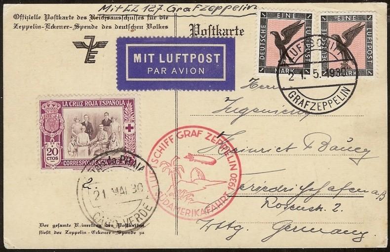 nach - Südamerikafahrt 1930, Post nach Praia (Kapverdische Inseln) 57_aa_10