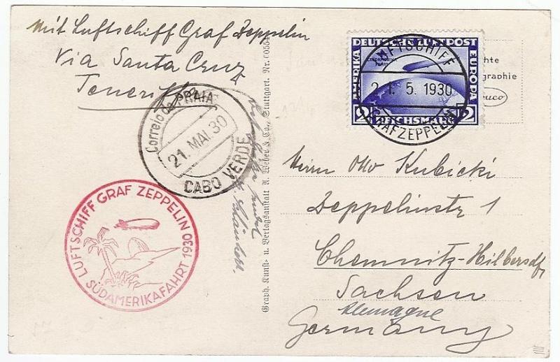 nach - Südamerikafahrt 1930, Post nach Praia (Kapverdische Inseln) 57_aa_12