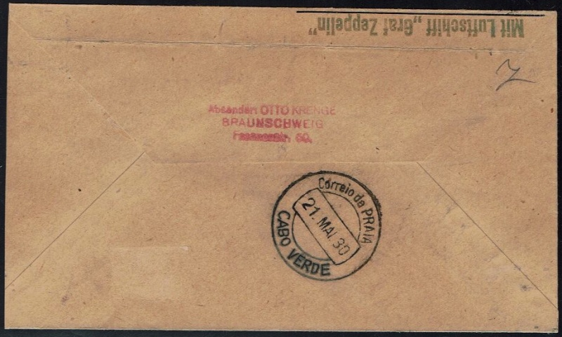 nach - Südamerikafahrt 1930, Post nach Praia (Kapverdische Inseln) 57_b_b12