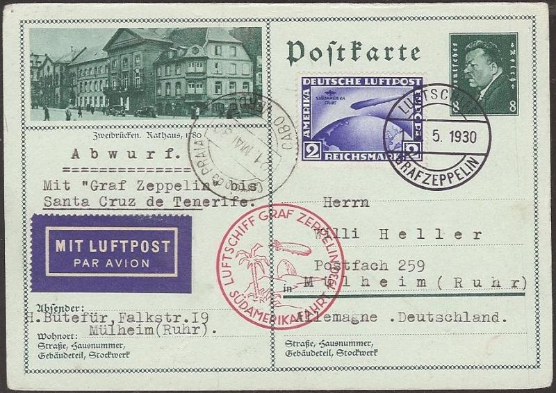 nach - Südamerikafahrt 1930, Post nach Praia (Kapverdische Inseln) 57_b_k10