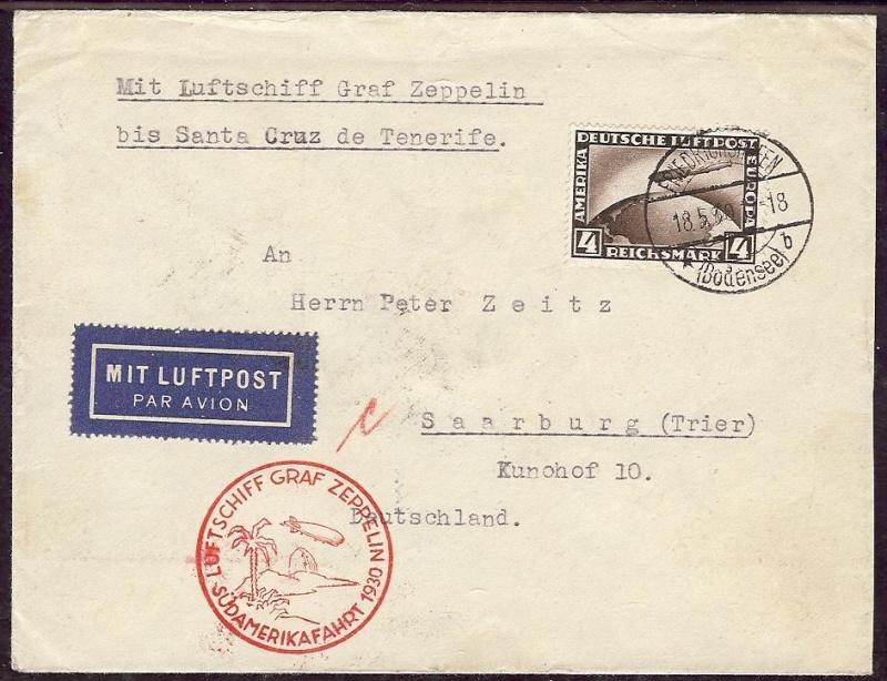 nach - Südamerikafahrt 1930, Post nach Praia (Kapverdische Inseln) 57_j10
