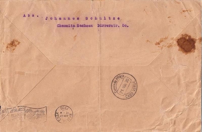 nach - Südamerikafahrt 1930, Post nach Praia (Kapverdische Inseln) 57_j_c11