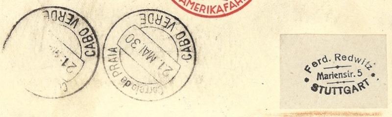 nach - Südamerikafahrt 1930, Post nach Praia (Kapverdische Inseln) 57_j_n10