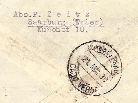 nach - Südamerikafahrt 1930, Post nach Praia (Kapverdische Inseln) 57_j_r10