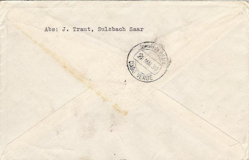nach - Südamerikafahrt 1930, Post nach Praia (Kapverdische Inseln) 57_j_s13