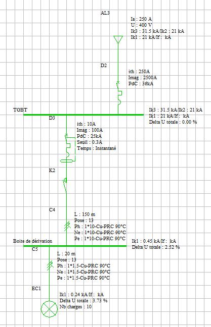 Règle des 2 sections  en dessous max en amont / aval d'une boîte de dérivation   Exempl10
