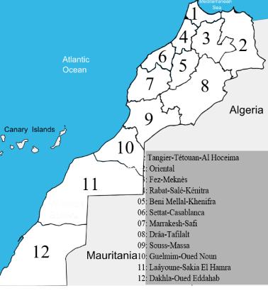 Connaître l'organisation territoriale du Maroc Rygion10