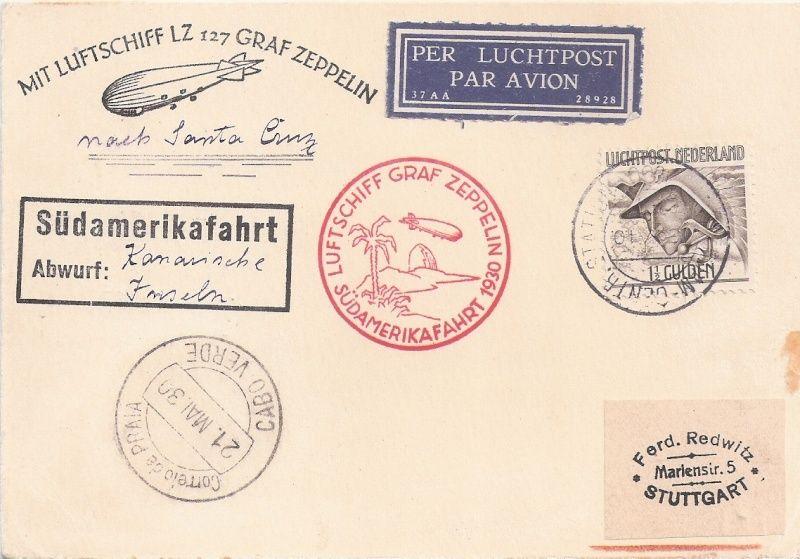 nach - Südamerikafahrt 1930, Post nach Praia (Kapverdische Inseln) Nieder10